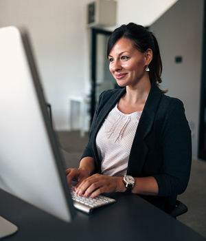 Professional woman on computer Business banking online